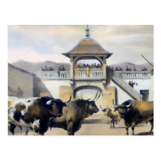 Los toros en el corral de la plaza tarjetas postales