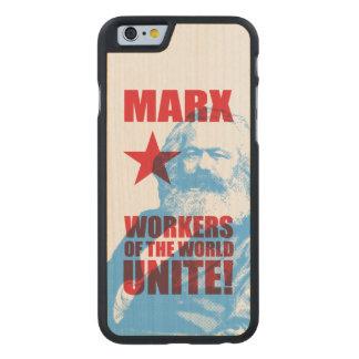 ¡Los trabajadores de Karl Marx del mundo unen! Funda De iPhone 6 Carved® Slim De Arce