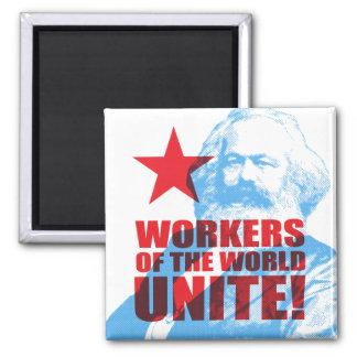 ¡Los trabajadores de Karl Marx del mundo unen! Imán Cuadrado