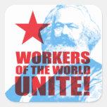 ¡Los trabajadores de Karl Marx del mundo unen! Pegatina Cuadrada