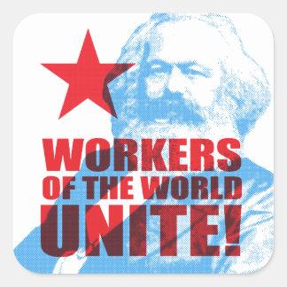 ¡Los trabajadores de Karl Marx del mundo unen! Colcomanias Cuadradas
