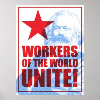 ¡Los trabajadores de Karl Marx del mundo unen! Póster