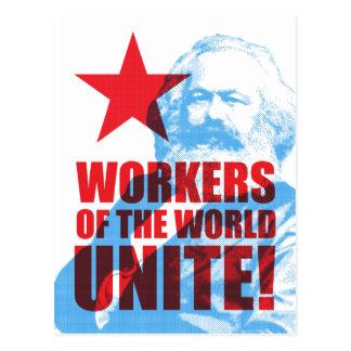¡Los trabajadores de Karl Marx del mundo unen! Tarjeta Postal