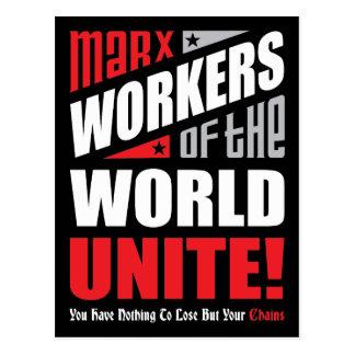Los trabajadores de Karl Marx del mundo unen Tarjeta Postal