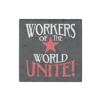 ¡Los trabajadores del mundo unen! Comunista Imán De Piedra