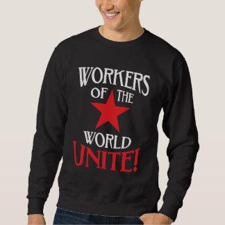 Los trabajadores del mundo unen la estrella roja suéter