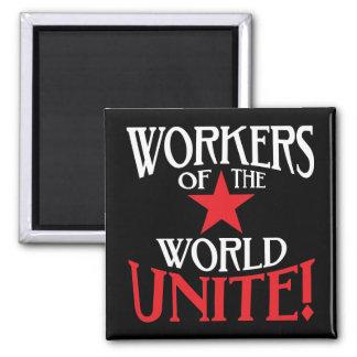 ¡Los trabajadores del mundo unen! Lema marxista Imán Cuadrado