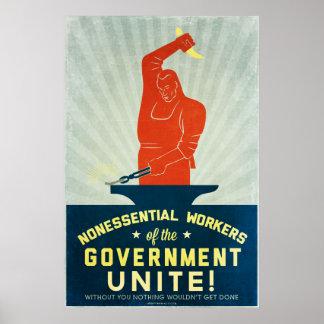 Los trabajadores no esenciales del gobierno unen póster