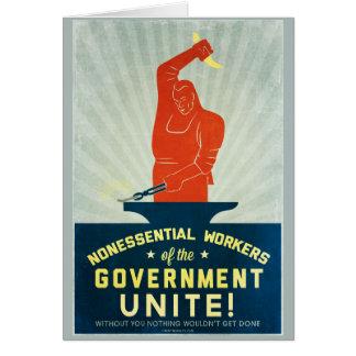 Los trabajadores no esenciales del gobierno unen tarjeta de felicitación