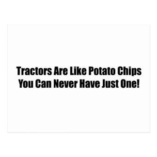 Los tractores son como las patatas fritas que uste postal