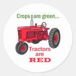 Los tractores son rojos pegatina redonda
