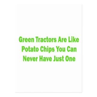 Los tractores verdes son como las patatas fritas tarjetas postales