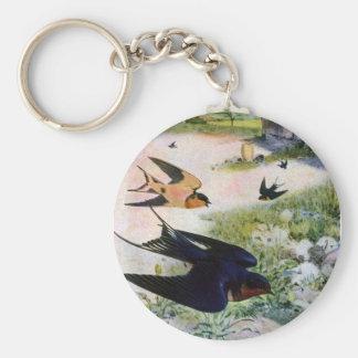 Los tragos de granero vuelan alrededor de llavero redondo tipo pin