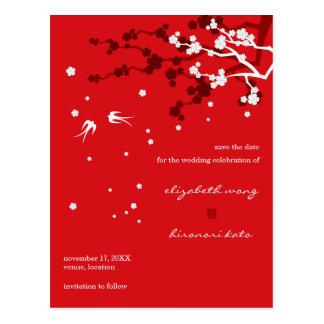 Los tragos elegantes chinos de Sakura que se casan Tarjeta Postal