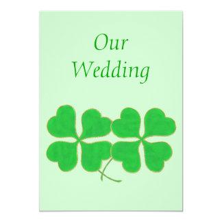 """Los tréboles verdes con con casarse de los puntos invitación 5"""" x 7"""""""