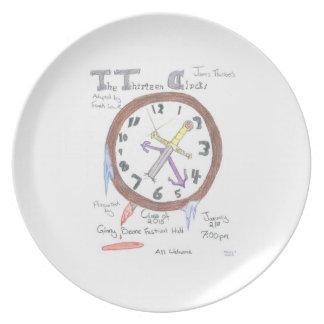 Los trece relojes - placa plato para fiesta
