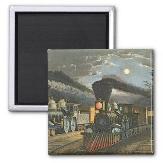 Los trenes expresos del relámpago, 1863 imán cuadrado
