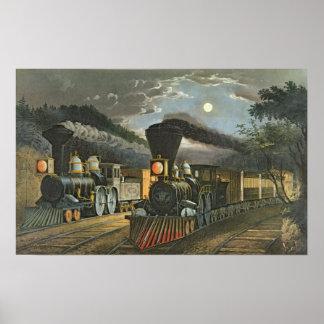 Los trenes expresos del relámpago 1863 impresiones
