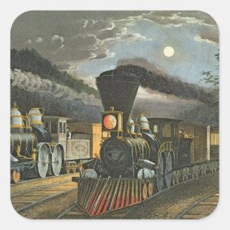 Los trenes expresos del relámpago, 1863 pegatina cuadrada