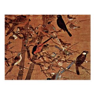 Los tres amigos y cientos pájaros por Pien Tarjeta Postal