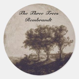 Los tres árboles etiqueta redonda