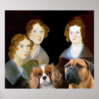 Los tres chicas de Bronte y encargados y sedoso Póster