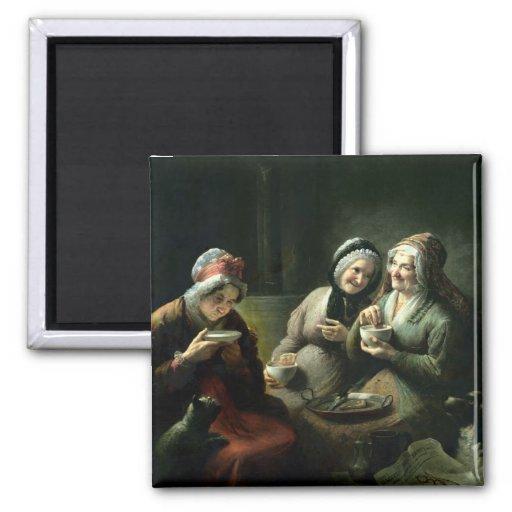 Los tres chismes imán cuadrado
