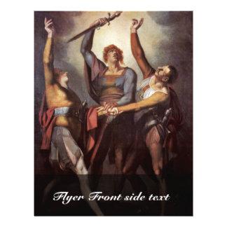 Los tres confederados durante el juramento Rütli ( Tarjeta Publicitaria
