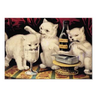 """Los tres gatitos codiciosos en el banquete Ives Invitación 3.5"""" X 5"""""""