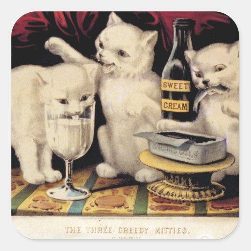 Los tres gatitos codiciosos en el curtidor Ives Pegatina Cuadrada