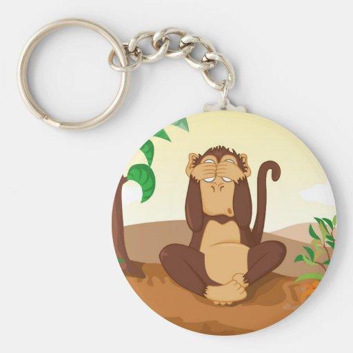 Los tres monos sabios llavero redondo tipo pin