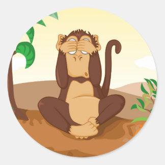 Los tres monos sabios pegatina redonda