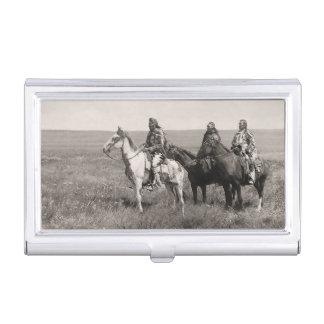 Los tres nativos americanos del vintage de Piegan Caja De Tarjetas De Presentación