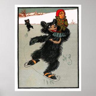 Los tres osos El Iceskating con Goldilocks Posters