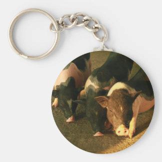 Los tres pequeños cerdos llavero redondo tipo pin