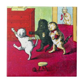 Los tres pequeños gatitos azulejo cuadrado pequeño