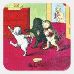 Los tres pequeños gatitos pegatina cuadrada