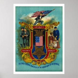 Los tres principios cardinales del ejército [1884] póster