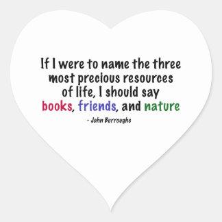 Los tres recursos más preciosos de la vida pegatina corazon personalizadas