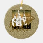 Los Tres Reyes Magos - ornamento del navidad Adorno Redondo De Cerámica
