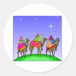 Los Tres Reyes Magos Siga Estrella Pegatina Redonda