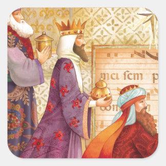 Los tres reyes pegatina cuadrada