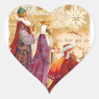 Los tres reyes pegatina en forma de corazón