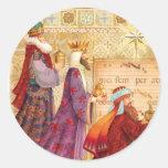 Los tres reyes pegatina redonda