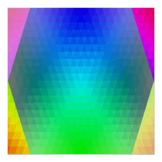 Los triángulos abstractos del arco iris del zen póster