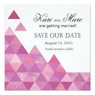 """Los triángulos geométricos ahorran la púrpura de invitación 5.25"""" x 5.25"""""""