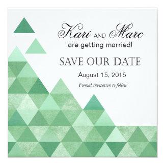 """Los triángulos geométricos ahorran la verde menta invitación 5.25"""" x 5.25"""""""