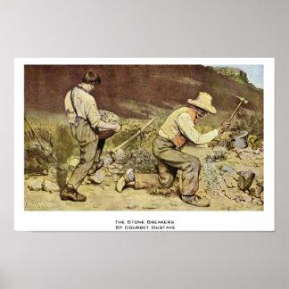 Los trituradores de piedra de Courbet Gustavo Poster