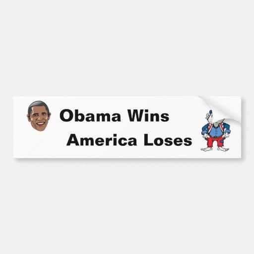 Los triunfos América de Obama pierden Pegatina De Parachoque