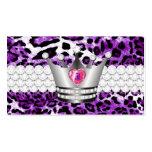 Los TT perfeccionan a princesa Purple Leopard Faux Tarjetas Personales